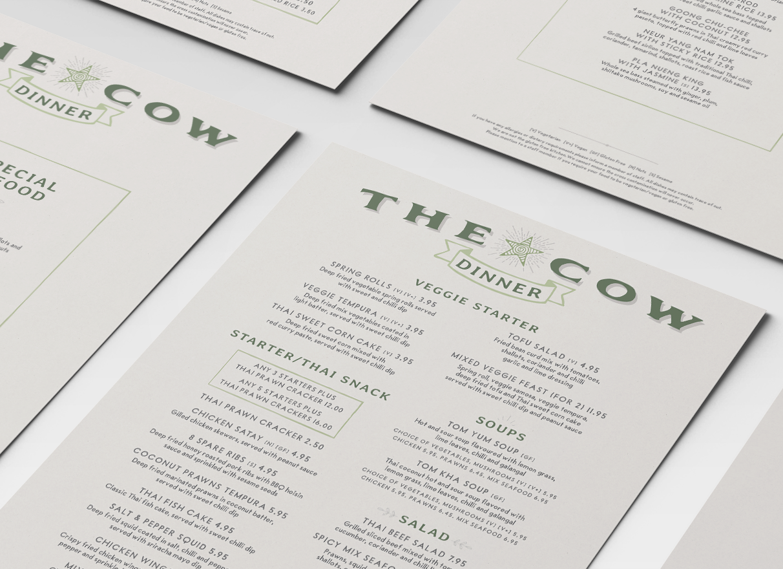 the cow brighton menus